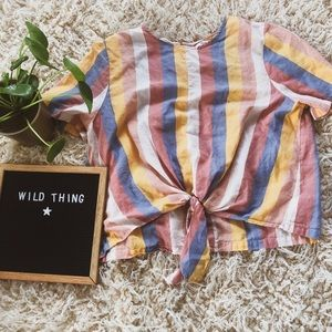 Made well striped tie front top